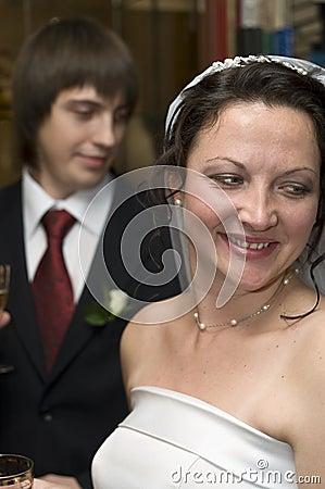Happy groom and bride