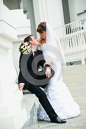 Happy groom and bride. Love tenderness feeling of wedding couple