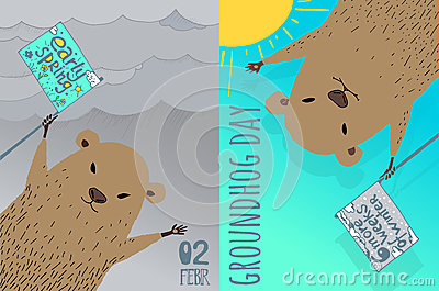 Happy Groundhog Day card design. Vector Illustration