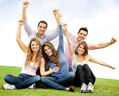 Happy group with arms up