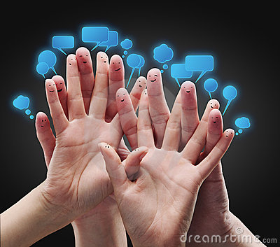 Happy group of finger smileys with social chat sig