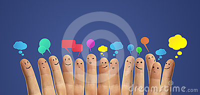 Happy group of finger with social chat sign