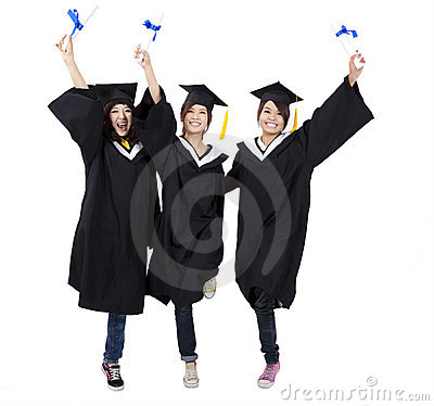 Happy group of  graduation girls
