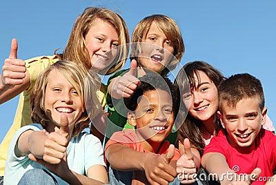 happy group kids, diversity