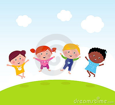 Happy group of multicultural kids jumping