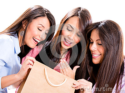 Happy shopping girls