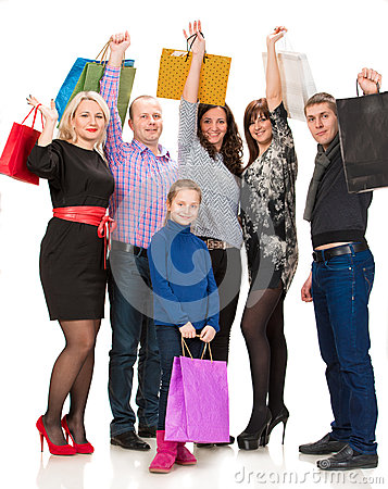 Happy group of shopping people