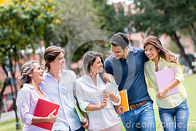Happy group of students