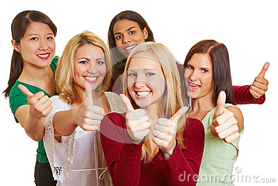 Happy group of women holding thumbs up