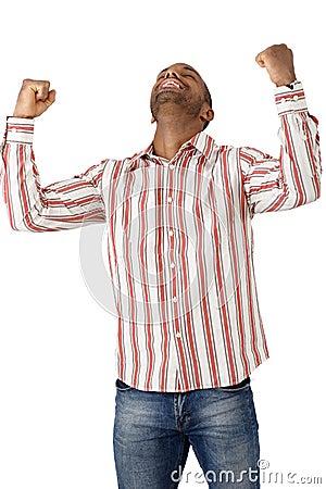 Happy guy celebrating good news