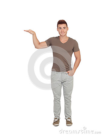 Free Happy Guy Showing The Height Of Something With His Hand Stock Photography - 33401292
