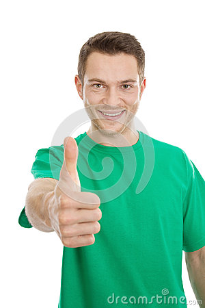 Happy guy thumbs up in green t-shirt.