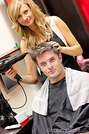 Free Happy Hairdresser Drying Her Customer S Hair Stock Image - 16262251