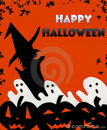 Happy Halloween background Pumpkins, Ghosts, Witch