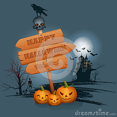 Free Happy Halloween Background With Wood Sign In Moonlight Royalty Free Stock Photo - 59516255