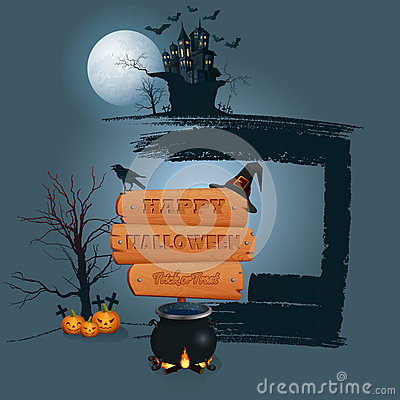 Free Happy Halloween Background With Wooden Sign In Moonlight Scene Stock Photos - 59735943