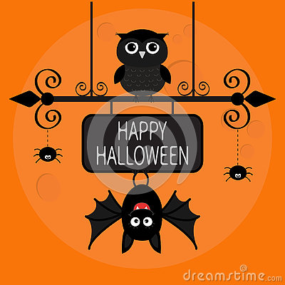 Free Happy Halloween Card. Bat Hanging On Wrought Iron Sign Board. Owl Bird, Spider Dash Line Web. Royalty Free Stock Photo - 76440235