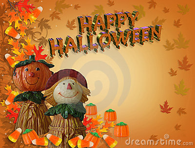 Happy Halloween card Pumpkin Scarecrow