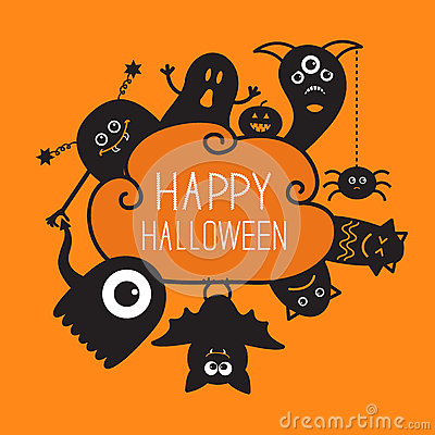 Free Happy Halloween Countour Doodle. Ghost, Bat Stock Photos - 59501633