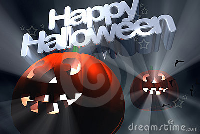 Happy Halloween flying pumpkins