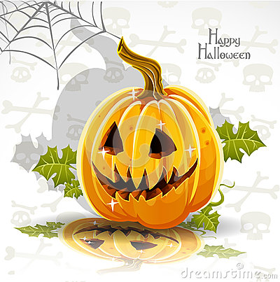 Happy Halloween font cut out pumpkin Jack