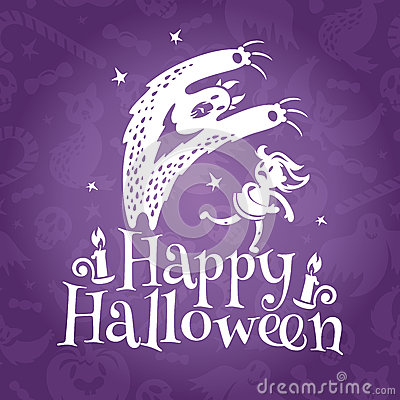 Happy Halloween greeting vector card