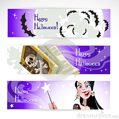 Happy Halloween horizontal banner. The night sky