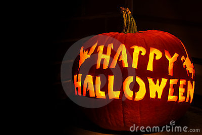 Happy Halloween Jack O Lantern Pumpkin Stock Photo