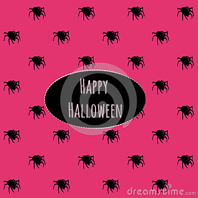 Free Happy Halloween On A Pink Background With Spiders Royalty Free Stock Photos - 60430338