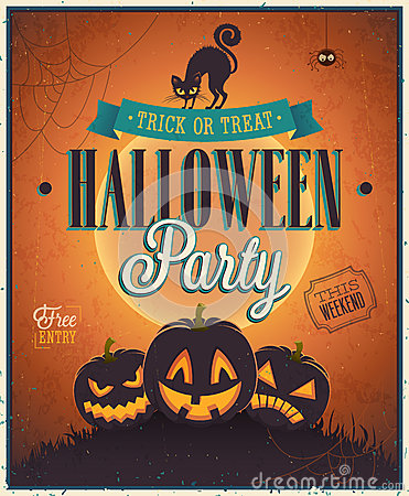 Free Happy Halloween Poster. Royalty Free Stock Photos - 33691538