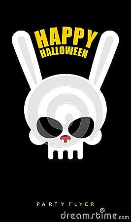 Free Happy Halloween. Rabbit Skull On Black Background. Party Flyer. Royalty Free Stock Photo - 58531495
