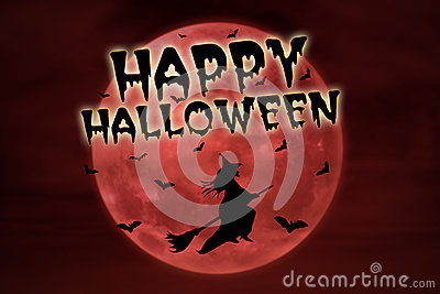 Happy halloween on red full moon and witch