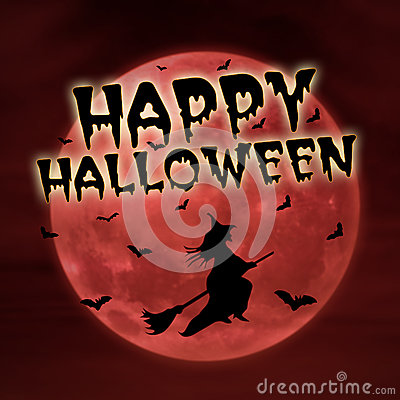 Happy halloween on red moon with witch