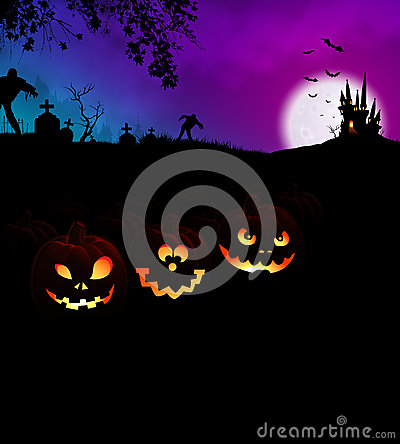 Free Happy Halloween Scary Night Party Concept With Pumpkins Royalty Free Stock Photography - 60636007