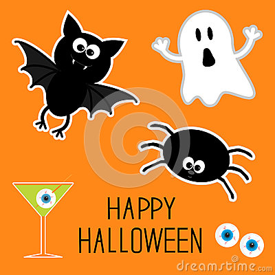 Happy Halloween set. Ghost, bat, spider, eyes, martini. Card.