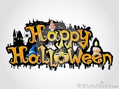 Happy Halloween sign  on grey background.