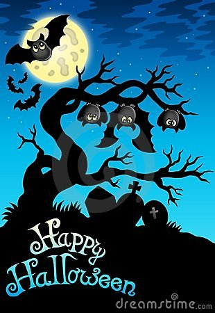 Free Happy Halloween Sign With Bats Stock Photos - 15719563
