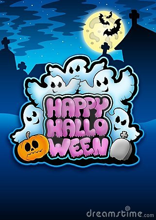 Free Happy Halloween Sign With Ghosts Royalty Free Stock Images - 15453519