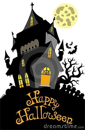 Free Happy Halloween Sign With Mansion Stock Photos - 15634623