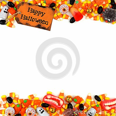 Free Happy Halloween Tag With Candy Double Border Over A White Background Royalty Free Stock Images - 76539409