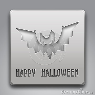 Happy Halloween Text with Bat Symbol