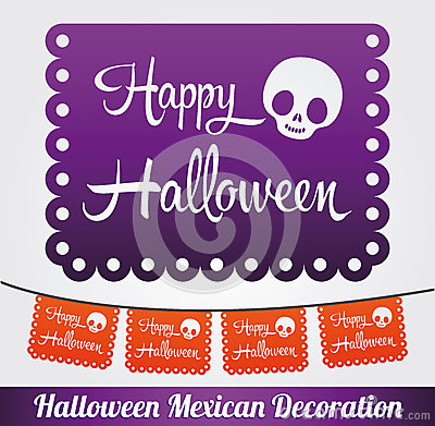 Happy Halloween vector mexican decoration