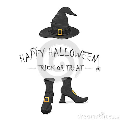 Happy Halloween with witches shoes and hat Vector Illustration