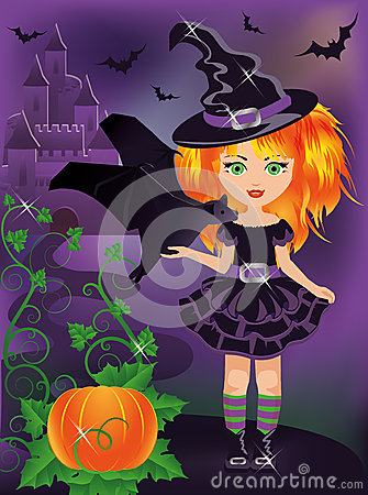 Happy halloween. Young witch with a bat
