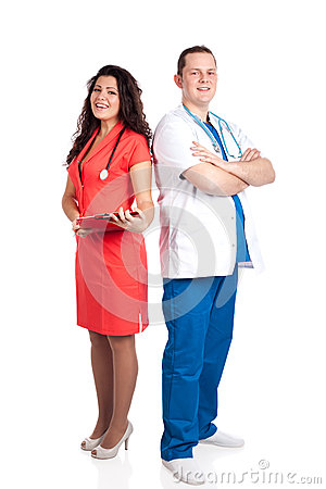 Happy handsome doctor and sexy nurse
