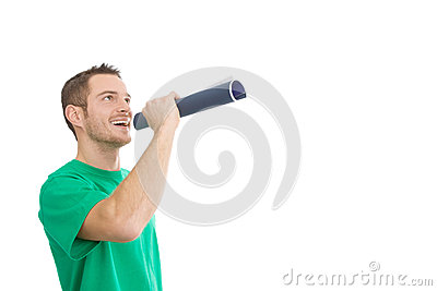 Happy handsome man with megaphone