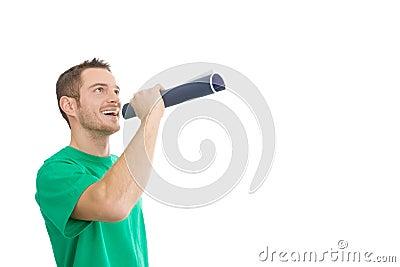 Happy handsome man with megaphone