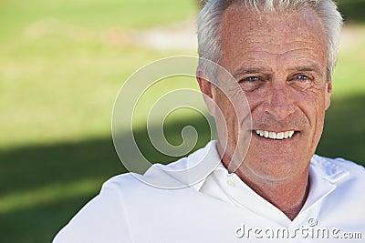 Happy Handsome Senior Man Smiling Outside