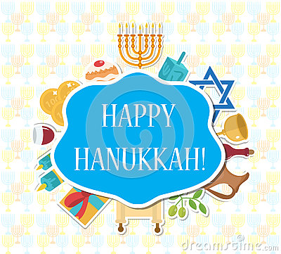 Happy Hanukkah greeting card, invitation, poster. Vector Illustration
