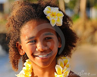 Happy Hawaiian Girl Stock Photo